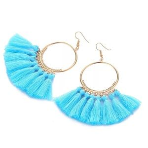 BOHO BLUE GOLDEN TASSELS EARRINGS